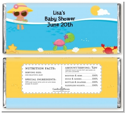 Beach Baby Hispanic Girl - Personalized Baby Shower Candy Bar Wrappers