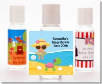 Beach Baby Hispanic Girl - Personalized Baby Shower Hand Sanitizers Favors