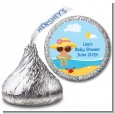 Beach Baby Hispanic Girl - Hershey Kiss Baby Shower Sticker Labels thumbnail