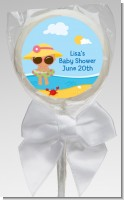 Beach Baby Hispanic Girl - Personalized Baby Shower Lollipop Favors