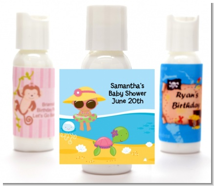 Beach Baby Hispanic Girl - Personalized Baby Shower Lotion Favors