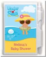 Beach Baby Hispanic Girl - Baby Shower Personalized Notebook Favor