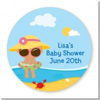 Beach Baby Hispanic Girl - Round Personalized Baby Shower Sticker Labels