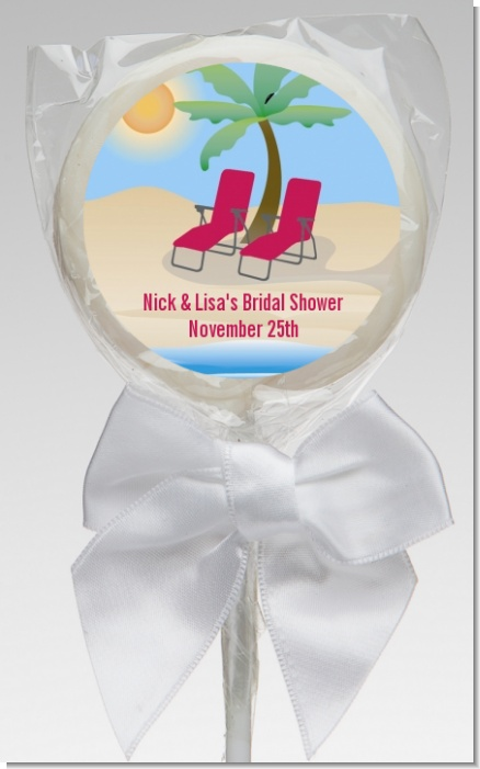Beach Chairs - Personalized Bridal Shower Lollipop Favors