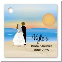 Beach Couple - Personalized Bridal | Wedding Card Stock Favor Tags