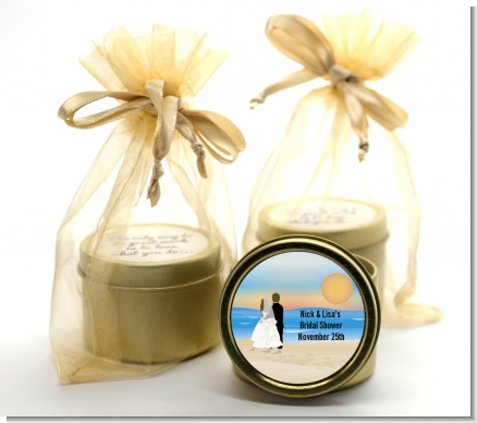 Beach Couple - Bridal Shower Gold Tin Candle Favors