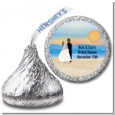 Beach Couple - Hershey Kiss Bridal Shower Sticker Labels