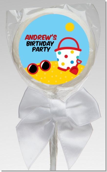 Beach Toys - Personalized Birthday Party Lollipop Favors