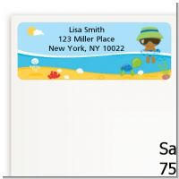 Beach Baby African American Boy - Baby Shower Return Address Labels