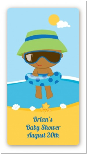 Beach Baby African American Boy - Custom Rectangle Baby Shower Sticker/Labels