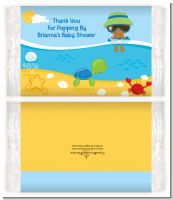 Beach Baby African American Boy - Personalized Popcorn Wrapper Baby Shower Favors