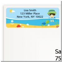 Beach Baby Asian Boy - Baby Shower Return Address Labels