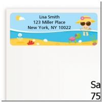 Beach Baby Asian Girl - Baby Shower Return Address Labels