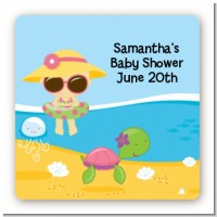 Beach Baby Asian Girl - Square Personalized Baby Shower Sticker Labels