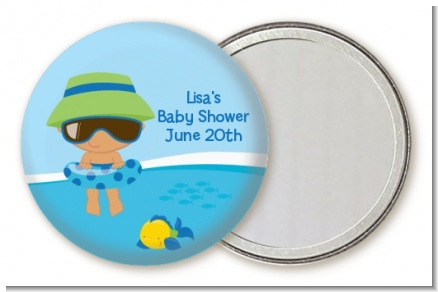 Beach Baby Hispanic Boy - Personalized Baby Shower Pocket Mirror Favors