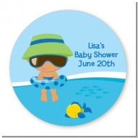 Beach Baby Hispanic Boy - Round Personalized Baby Shower Sticker Labels