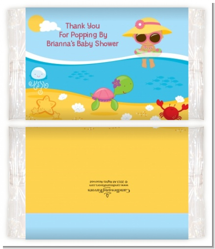 Beach Baby Hispanic Girl - Personalized Popcorn Wrapper Baby Shower Favors