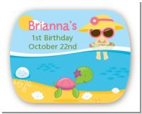 Beach Girl - Personalized Birthday Party Rounded Corner Stickers