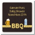Beer and Baby Talk - Square Personalized Baby Shower Sticker Labels thumbnail