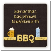 Beer and Baby Talk - Square Personalized Baby Shower Sticker Labels