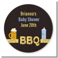 Beer and Baby Talk - Round Personalized Baby Shower Sticker Labels thumbnail
