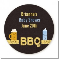 Beer and Baby Talk - Round Personalized Baby Shower Sticker Labels