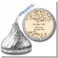 Beige & Brown - Hershey Kiss Bridal Shower Sticker Labels thumbnail