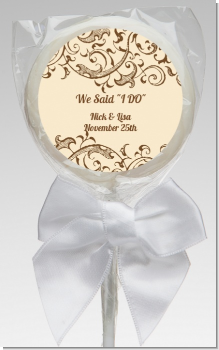 Beige & Brown - Personalized Bridal Shower Lollipop Favors