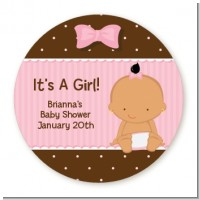 Baby Girl Hispanic - Round Personalized Baby Shower Sticker Labels