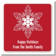 Big Red Snowflake - Square Personalized Christmas Sticker Labels thumbnail