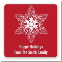 Big Red Snowflake - Square Personalized Christmas Sticker Labels