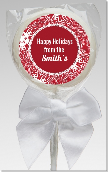Big Red Snowflake - Personalized Christmas Lollipop Favors