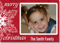 Big Red Snowflake - Personalized Photo Christmas Cards