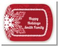 Big Red Snowflake - Personalized Christmas Rounded Corner Stickers thumbnail