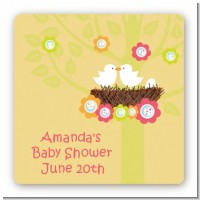 Bird's Nest - Square Personalized Baby Shower Sticker Labels