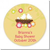 Bird's Nest - Round Personalized Baby Shower Sticker Labels