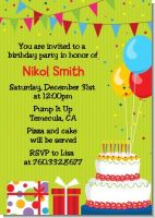 Birthday Cake - Birthday Party Invitations