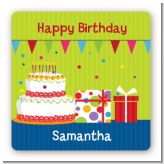 Birthday Cake - Square Personalized Birthday Party Sticker Labels