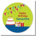 Birthday Cake - Round Personalized Birthday Party Sticker Labels thumbnail
