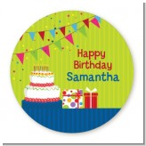 Birthday Cake - Round Personalized Birthday Party Sticker Labels