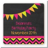 Birthday Girl Chalk Inspired - Square Personalized Birthday Party Sticker Labels