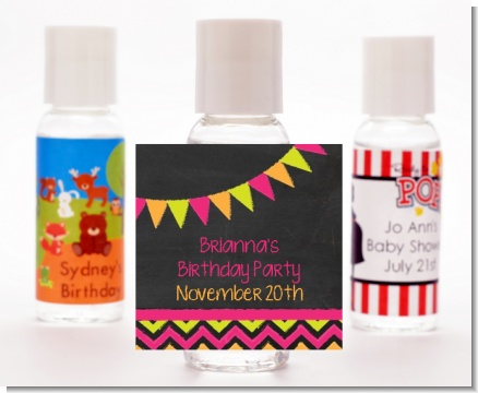 Birthday Girl Chalk Inspired - Personalized Birthday Party Hand Sanitizers Favors