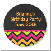 Birthday Girl Chalk Inspired - Round Personalized Birthday Party Sticker Labels