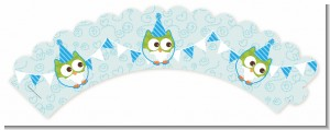 Owl Birthday Boy - Birthday Party Cupcake Wrappers
