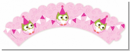 Owl Birthday Girl - Birthday Party Cupcake Wrappers