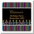 Birthday Wishes - Square Personalized Birthday Party Sticker Labels thumbnail