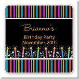 Birthday Wishes - Square Personalized Birthday Party Sticker Labels
