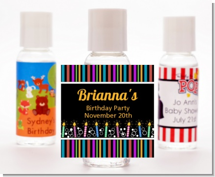 Birthday Wishes - Personalized Birthday Party Hand Sanitizers Favors