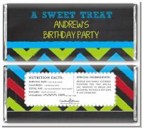 Birthday Boy Chalk Inspired - Personalized Birthday Party Candy Bar Wrappers