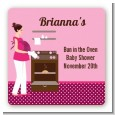 Bun in the Oven Girl - Square Personalized Baby Shower Sticker Labels thumbnail